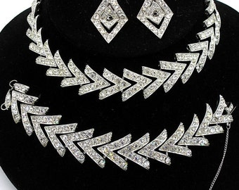 Vintage 1961 Sarah Coventry Parisienne Nights Rhinestone Necklace Parure Set