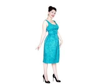 NEW Camille Party dress from The Domestic Dame - gorgeous teal brocade dress with bow detail