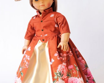 """Peonies Outlander inspired Dress with Hat and Panniers fits 18"""" Dolls like American Girl or Our Generation or Journey Girl Dolls"""
