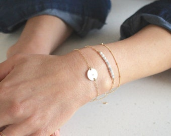 Delicate Gold bracelet set - 3 dainty stacking bracelets - save 15% - personalised