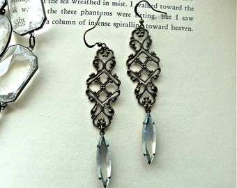 Victorian Filigree Earrings - Vintage Inspired Moonstone Glass Earrings - Bronze Filigree Jeweled Earrings with French Hooks
