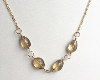 Citrine Gold Necklace / Champagne Necklace
