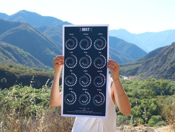 2017 MOON CALENDAR in Night Sky - Silkscreen Print