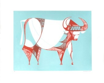 "Silkscreen, ""Ox"" NEW Original Screenprint, Hand printed, Limited Edition of 17 ONLY"