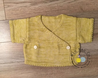 Vest wrap wool Merino and cashmere, yellow color, size 2 years