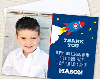 Rocket / Outer Space Party Photo Thank You Cards - Professionally printed *or* DIY printable