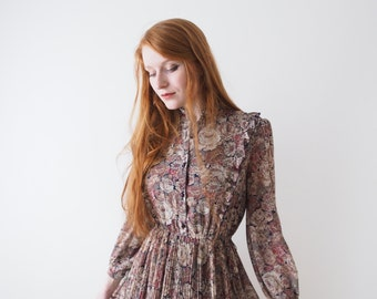Popuri, flower vintage dress, Japan, xs - small