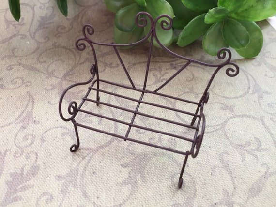 Wire Metal Garden Bench Perfect for Primitives Home Decor Doll Making Fairy Gardens Dioramas Terrarium and More