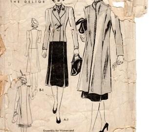 1930s Coat & Suit Pattern - Vintage Butterick 8056 - Size 18 Bust 36