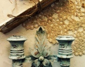 Twilight Romance French Nordic Blue Candle Sconce. French Blue Gold Distressed. Petite WOod Brass Sconce. Boho Shabby Chic.  Rustic Cottage