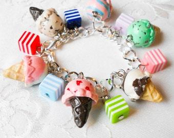 Ice Cream Charm Bracelet, Ice Cream Cone, Charm Bracelet, Food Jewelry, Polymer Clay, Cute Bracelet, Kawaii, Sweet Lolita, Charm, Bracelet