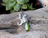 Crystal & Moon Necklace - Titanium Aura Quartz Necklace - Green Crystal Necklace - Crescent Moon Jewelry - Wiccan Jewelry - Bohemian Jewelry