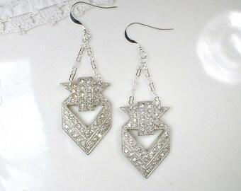 OOAK 1930s Art Deco Paste Rhinestone Bridal Earrings, Sterling Silver Dangle Earrings Vintage Dress Clip Long Statement 1920 Flapper Jewelry
