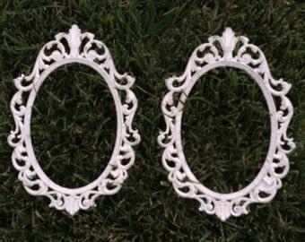 SALE Baroque Filigree Oval Frames Italy Vintage Ornate Heirloom White Vintage
