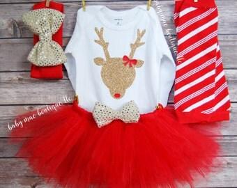 Babies First Christmas Outfit; Glitter Reindeer Outfit; Baby Girl Christmas Outfit;  Christmas Tutu & Onesies® brand by Gerber®