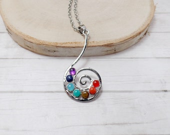Spiral of Life Chakra Necklace - Seven Chakra Necklace - Yoga Necklace