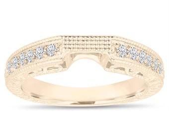 Unique Wedding & Anniversary Diamond Curve Band 14K Yellow Gold 0.21 Carat Handmade Antique Vintage Style