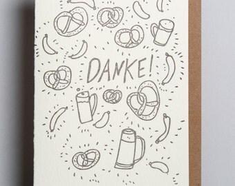 Letterpress card, Danke