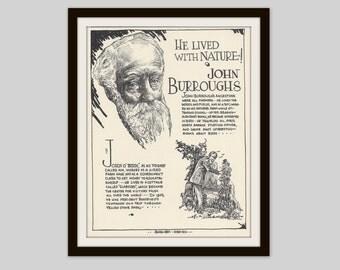 John Burroughs, Vintage Art Print, Literary Art, Classroom Art, English Teacher Gift, Conservation, Naturalist Natural History, Art to Frame