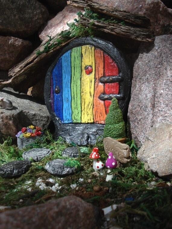 Rainbow fairy door fairy door kit gnome doorfairy door for Rainbow fairy door