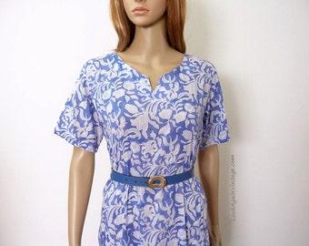 Vintage 1980s Anokhi Maxi Dress Periwinkle Blue White Boho Gypsy Long Dress / Small to Medium