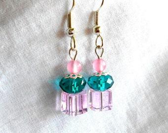 Cupcake Earrings Crystal Earrings Emerald Earrings Silver Plated Surgical Steel Earrings Green Earrings Pink Earrings