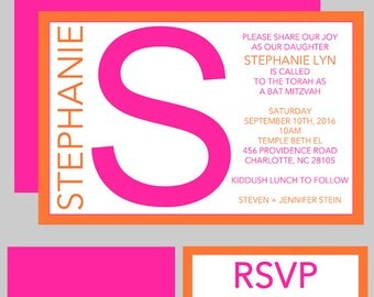 Bat Mitzvah Invitations - Monogram Initial - Custom Colors Available, Hot Pink and Orange, RSVP Cards, Thank You Notes, Envelope Addressing