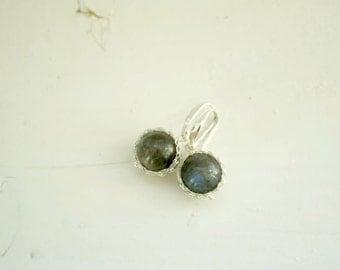 Labradorite Earrings. Wire Crochet Earrings. Silver Earrings. Round Labradorite Earrings. Wire Crochet Jewellery. Made to Order.