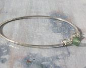 Sea glass, Seaglass Charm Bangle | Silver Charm Bangle Bracelet | Seaglass Bracelet | Green Seafoam Bangle
