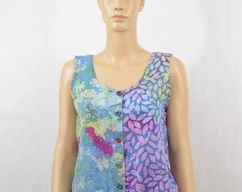 Vintage Batik Sleeveless Shirt, Hippie Shirt, Boho, Artsy, Festival Clothing, 90's Clothing, Spring Break, Rad, Tumblr Clothes, Size Small
