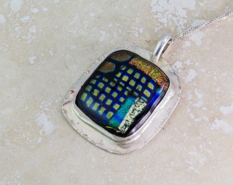 Dichroic Glass Freeform in Sterling Silver