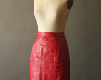 Vintage 80's Red Leather Pencil Skirt by Wilsons Leather, size 8