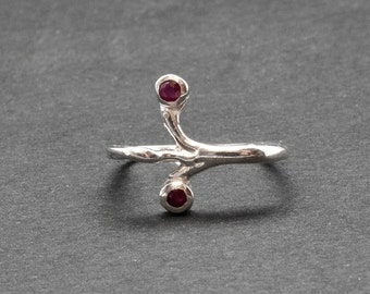 Ruby Ring, Sterling Silver Square Artistic Ring with Natural Red Ruby, July Birthstone Ring, Delicate Gemstone Ring Size 8, Ruby Jewelry