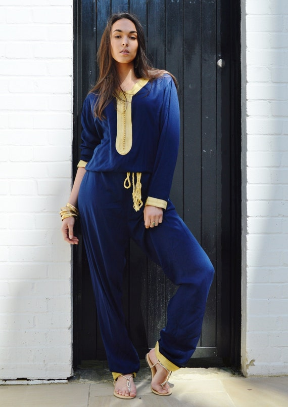 Boho JUMPSUIT | Navy Blue Kara Jumpsuit -loungewear,resortwear,Birthdays, Honeymoon, Wedding, Maternity gifts, Ramadan, Eid