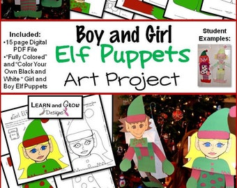 Boy Elf and Girl Elf Puppet Art Project - Color Your Own and Already Colored