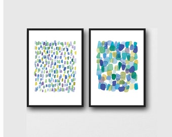 set of 2 abstract paintings, Watercolor paintings aquamarine blue green dots, Sea glass art