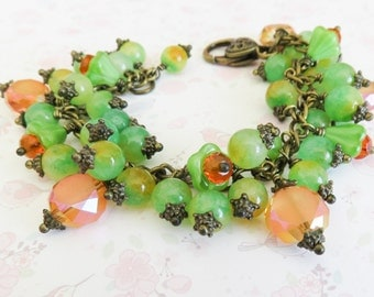 Colorful bracelet, chunky beaded bracelets, orange with green, gift for her, bronze jewelry, crystal jewelry