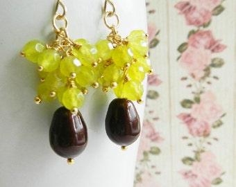 Green peridot earrings, gold filled earrings, small earrings, swarovski pearl earrings, for her, Europe