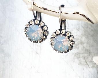 Delicate Wedding Earrings - Halo Set Jewelry - Light Blue Opal - Dainty Crystal Earrings - Opal Bridesmaid Jewelry - Swarovski Earrings