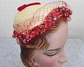 Cherry Red Flower Trimmed Hat - 1950s prim & proper formed hat with velvet trim, netting