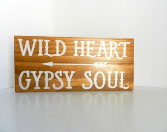 "Hippie Sign for Bohemian Décor – ""Wild Heart Gypsy Soul"""