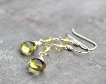 Lemon Quartz Earrings Sterling Silver Dangle Gemstone Earrings