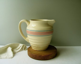 Vintage McCoy Pink Blue Striped Pitcher Ribbed Pottery Milk Water Pitcher Jug USA E-7 Kitchen Drinking Serving Dish Home Decor Collection