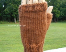 Brown Fingerless Gloves,  Hand knit winter gloves, Work glove, winter mitts, texting gloves, L to XL sizing