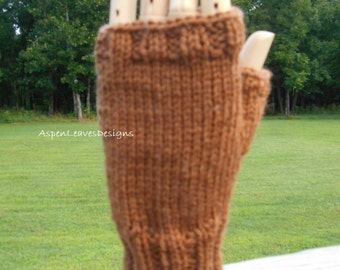 Adult mens fingerless gloves hand knit in brown. Winter gloves for  L to XL hands.