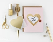 Scratch-off Anti Valentine's Day Card // Pink and Gold Foil Heart
