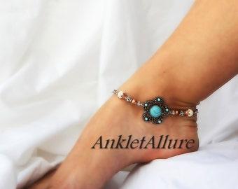 Southwestern Flower Anklet Turquoise Ankle Bracelet Flower Body JewelryFusion Copper Silver Ankle Bracelet
