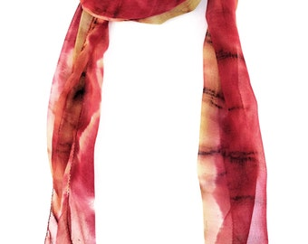 Tye Dye Red scarf Hand painted silk scarf Tie dye scarf Hand dyed Multicolor silk scarf Indian scarf Tie dye clothing Silk scarf India