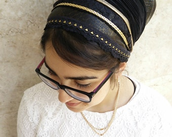 Fancy gold & Black,Jewish Tichel,cover your hair,wrap around mitpachat,and tie in the back, hair covering formal