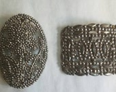 Vintage 1920s Cut Steel Shoe Buckles - 2 Piece Lot Single Buckles - Made in France Flapper Style
